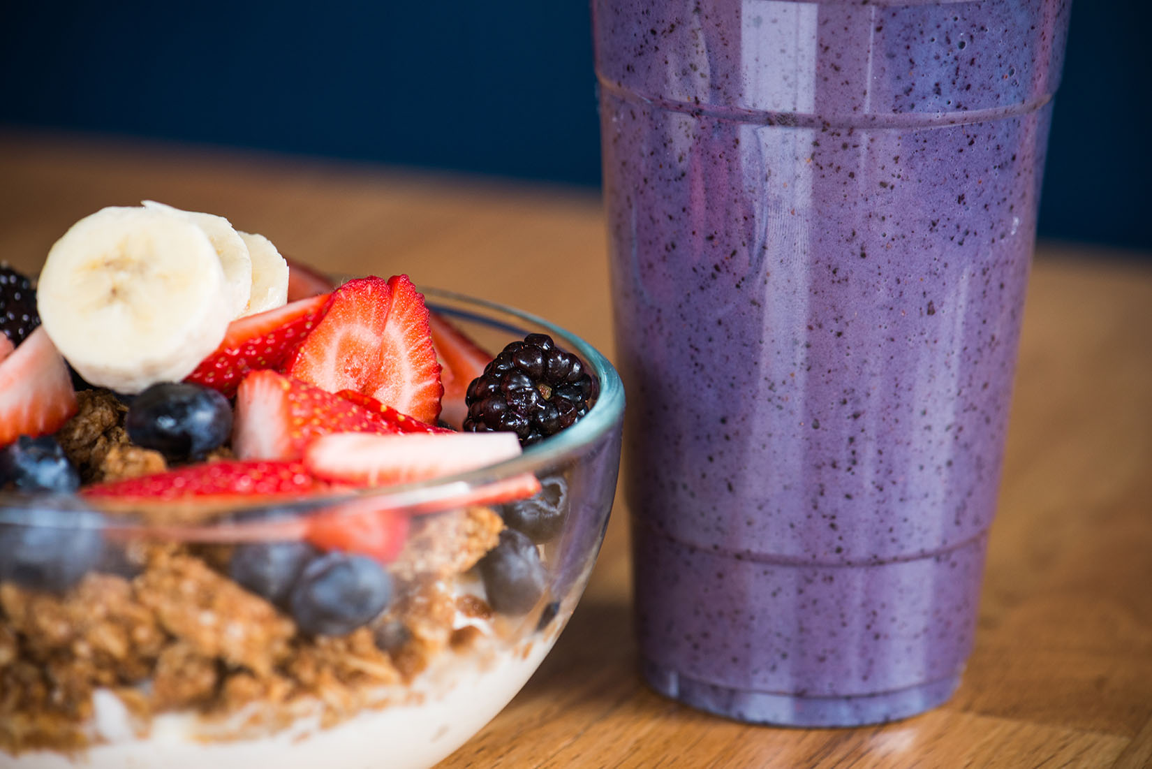 Smoothie and granola with yogurt